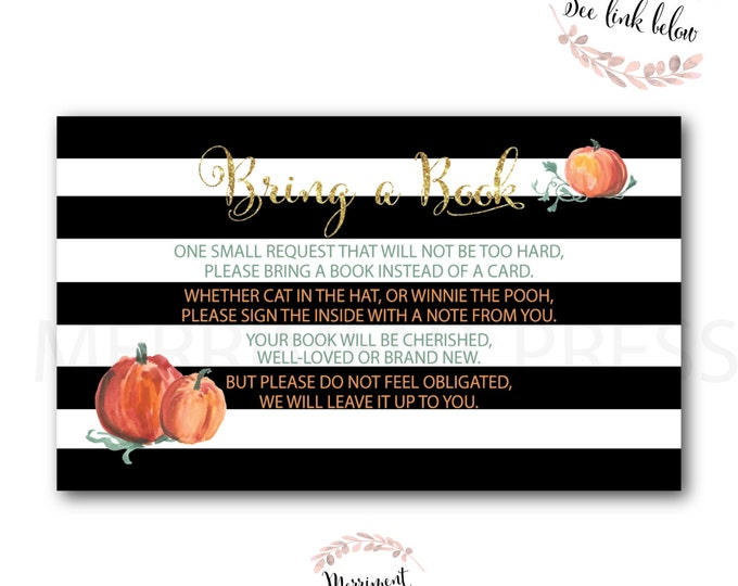 Bring a Book instead of a Card // Pumpkin // Watercolor// Gold Glitter // Little Puimpkin //Striped//Instant Download// NANTUCKET COLLECTION