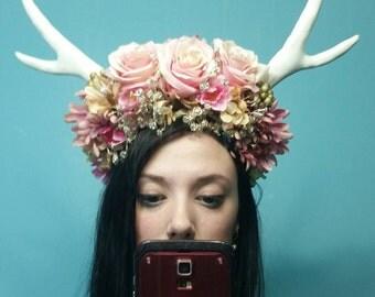 Custom Horn and floral Headdress