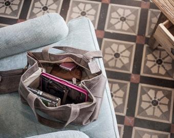 Sale!!! Distresse gray leather bag, Large Leather tote bag, Everyday leather handbag, Oversized leather bag