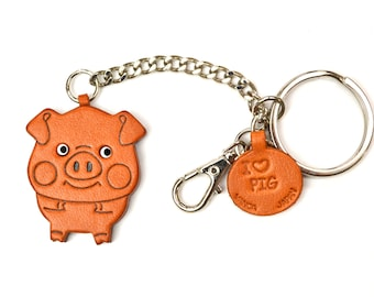 Pig 3D Leather Animal Ring/Bag Charm Keychain Keyring key fob/Accessory *VANCA* Made in Japan #26053 Free Shipping