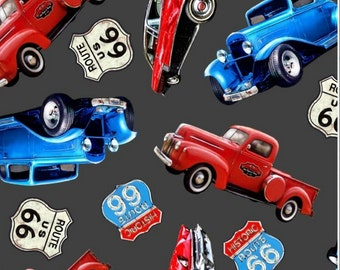 Old Cars and Trucks Fleece Fabric By The Yard