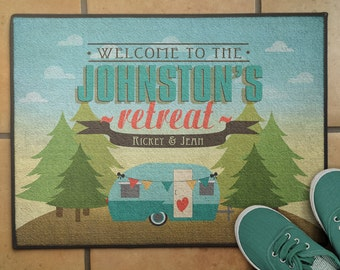 "18""x 24"" Personalized Floor Rug, Personalized Pine Tree RV Camper Welcome Mat, Camping Decor, RV Decor, Glamping Floor Mat"