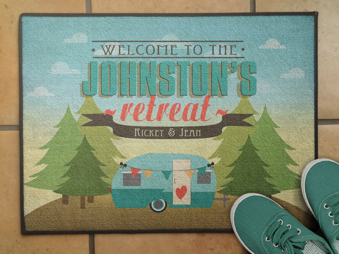 Floor mats in spanish - 18 X 24 Personalized Floor Rug Personalized Pine Tree Rv Camper Welcome Mat Camping Decor Rv Decor Glamping Floor Mat