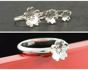SAKURA ring, 100% HANDMADE RING, Sakura Blossom Ring, Cherry blossom ring, Japanese ring, Sterling silver ring, Gift for her, Kawaii ring