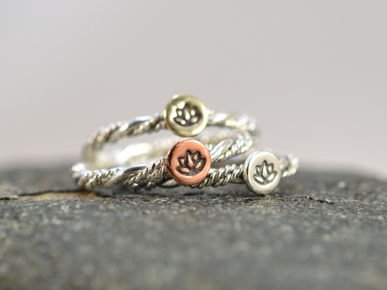 yoga ring stackable rings lotus flower ring yogi by viaprairie. Black Bedroom Furniture Sets. Home Design Ideas