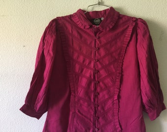 FREE SHIPPING Vintage Blouse - Ruffle Button Front Puffy Sleeve Cotton Top