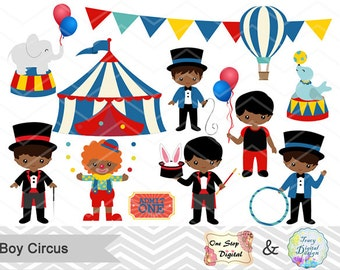 Instant Download Circus Clip Art, African American Boys Circus Clip Art, Circus Clipart, Carnival Clipart, Baby Boy Circus Party 00223