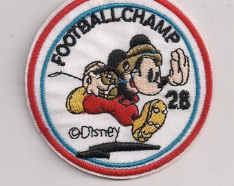 MICKEY MOUSE Football Champs Iron on patch 2 7/8 dia.
