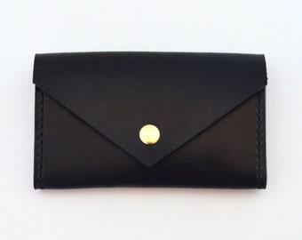 Leather Wallet, Card Case, Business Card Holder, Black Leather Wallet