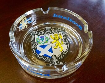 Glass Ash Tray; Scotland; Approx. 1.25 x 4 in. Nice Coats of Arms !!!