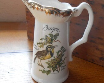 Oregon Souvenir Pitcher With Oregon Grape and Meadowlark Made in USA