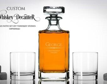 Personalized Whisky Decanter Set – Whiskey Gift Set Includes Engraved Whiskey Decanter, Whiskey Glasses & Whiskey Stones