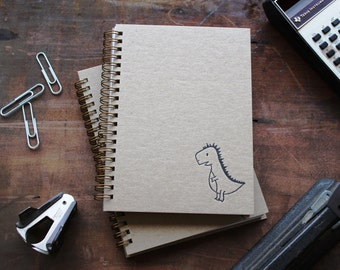 HARDCOVER - T-Rex dino - Letter pressed 5.25 x 7.25 inch journal