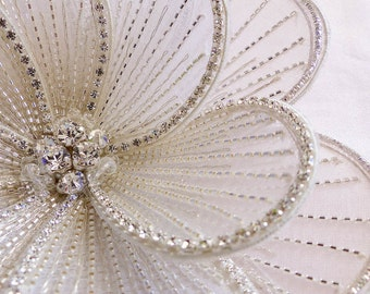 fabric flower, tulle flower, flower brooch, flower comb, wedding comb, Swarovski brooch, big fabric flower, wedding flower, flower pin
