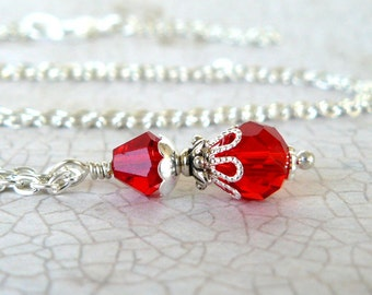 Bright Red Pendant, Cherry Red Crystal Necklace, Vintage Inspired Jewelry, Red Crystal Drop, Romantic Jewelry, Red Beaded Pendant Necklace