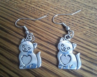 Cat Earrings with stainless steel french hooks