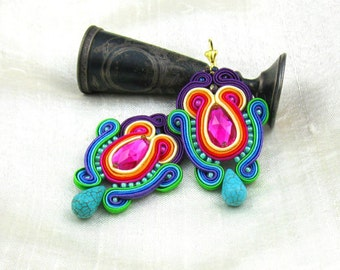 Soutache Earrings  ,soutache jewelry in ethnic, handmade earrings, Colorful Dangle Earrings