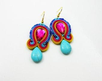 Soutache Earrings  ,soutache jewelry in ethnic, handmade earrings, Colorful Dangle EarringsTurquoise, cornflower earrings, small earrings