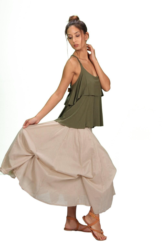 Blooming lotus designs women s - Blooming Lotus Multiple Ties Adjustable Length Skirt In Cream For Womens Summer Fashion