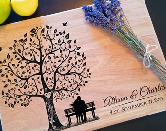 Personalized Custom Engraved with Names - Cutting Board, : Christmas, Wedding, Housewarming, Anniversary & Birthday Gift