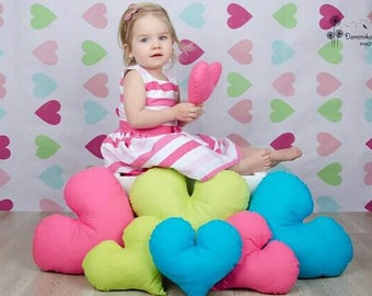 Heart-shaped Vinyl Photography Backdrop Newborns Photo Background Baby Children Photo printed backdrop D-7767