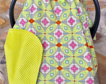Yellow, mustard, grey, geometric, polka dot, floral car seat canopy, newborn carrier cover, baby shower gift