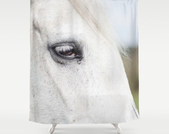 shower curtain, bathroom decor, modern shower curtain, photo curtain, horse eye, horse curtain, white curtain, white decor