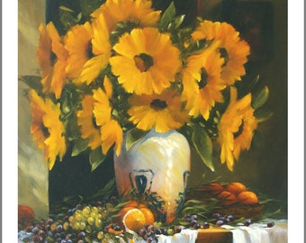 Still life oil painting, Still life Print, still life, Wall Decor, Autumn, Sunflowers, Art, giclee by Barbara Applegate, oil painting