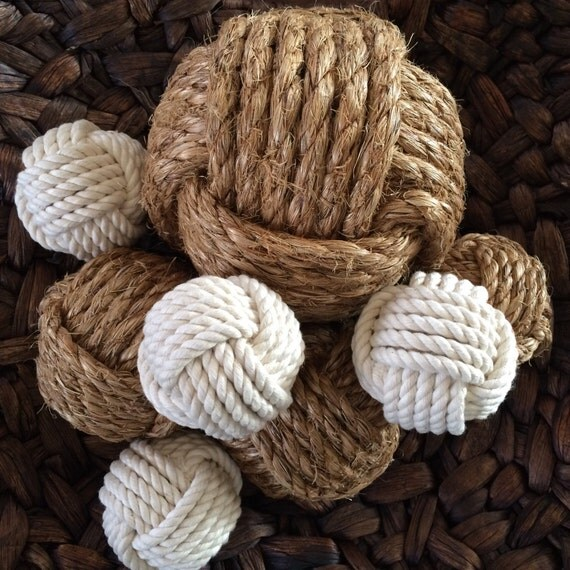 Nautical Rope Decor Items: Nautical Rope Knot Balls Set Of 8 Neutral Bowl Fillers