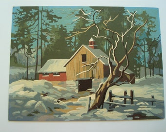 Vintage Paint by Number - Snowy Barn Scene
