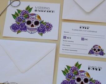 SAMPLE Sugar Skull Wedding Invitation & RSVP Card Suite Rockabilly Tattoo Purple Day of the Dead Dia de los muertos