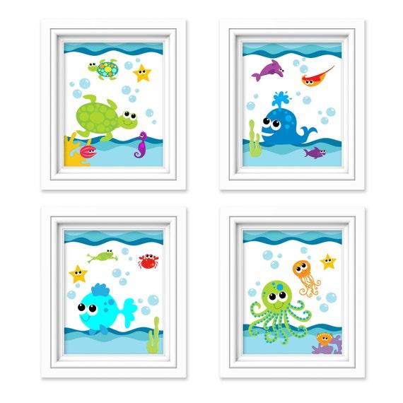 Items similar to kids bathroom art sea creature bathroom for Bathroom decor items