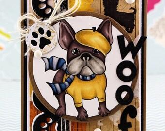 Frenchie dog Woof Card