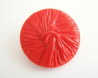 Large red glass button, Antique vintage knot button with self shank, unused!