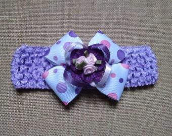Purple Headband, Flower Headband, Pink Rose Headband, Baby Headband, Baby Hair Accessory, Infant Headband Newborn Headband, Loopy Headband