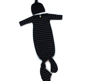Newborn boy coming home outfit Bamboo knotted gown and hat, infant sleeper, black stripe, take home outfit, knot gown, hospital outfit,