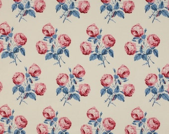 "Colefax and Fowler classic ""Bowood"" floral pillow cover in soft blue and red"
