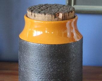 Retro kitchen canister Hanstan Australian Studio pottery 1970s Orange and brown cork topped