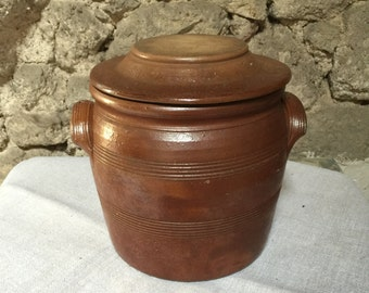 Extra Large French Vintage Crock Pot, Confit Pot with Lid, Table Poubelle