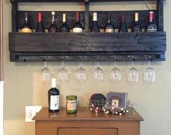 Pallet Wine Rack with Top - Wine Glass Holder - Pallet Wine Bar - Wall  Organizer