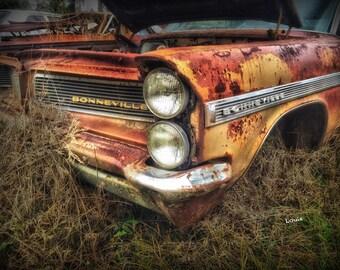 1965 Pontiac Bonneville - classic car, antique car, old car, rusty car, junk yard, auto, automobile, automobiles muscle car, pontiac,
