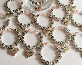 Personalised and dated hen party wine glass charms,hen night favours,hen party favours,hen night charms,wedding wine charm