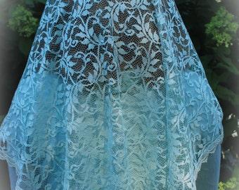 Vintage Collection Seafoam Lace Mantilla Chapel Veil Latin Mass Long Veil