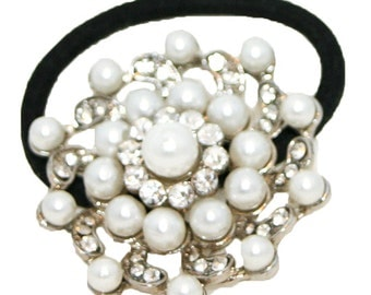 Pearl Ponytail Holder, Pearl and Crystal Ponytail Holder, Metal Ponytail Holder