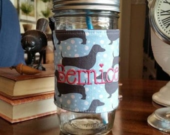 Mason Jar Tumbler 24oz | Dachshund | Dog Lover | Free Personalization | To Go Cup | Free Monogram
