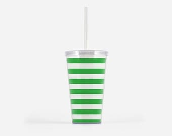 Green Stripe Tumbler 16oz, Drinkwear, Gifts for Her, Tumbler with Straw, Travel Tumbler, Preppy, Nautical Design, Sorority Gifts
