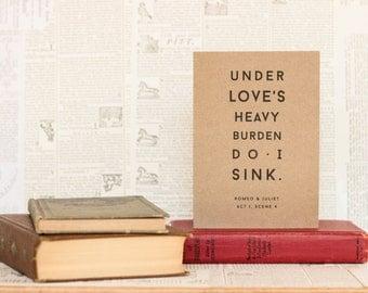 Under Love's Heavy Burden Romeo and Juliet Card: Brown Kraft Paper