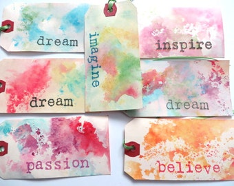 Inspirational Gift Tags, Set of 7 Gift Tags, Scrapbooking Tags,  Party Favor Tags, Handcolored, Dream, Imagine
