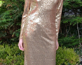 Custom made 'Rachel' gown vintage-inspired modern full length sequin dress with open back, long sleeves and chiffon train