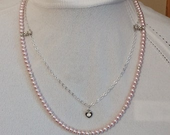 Handmade Necklace, 2-strand Necklace and Pierced Earrings, Light Mauve Pearl
